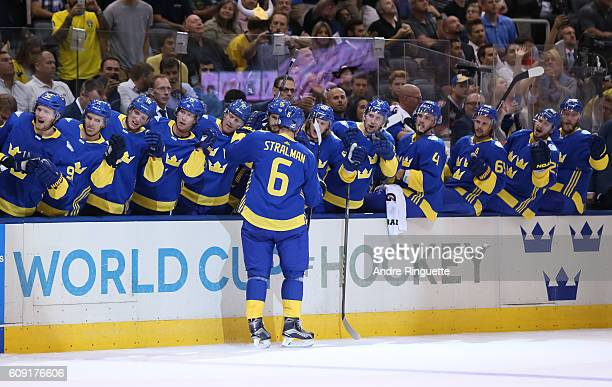 Anton Stralman of Team Sweden high fives the bench after scoring a second period goal on Team Finland during the World Cup of Hockey 2016 at Air...