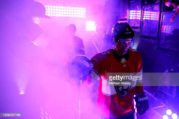 Anton Stralman of the Florida Panthers takes the ice prior to the game against the Toronto Maple Leafs at BB&T Center on February 27, 2020 in...