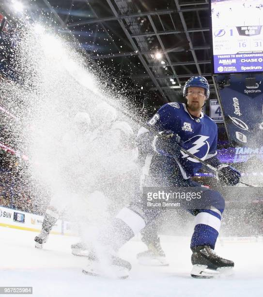 Anton Stralman of the Tampa Bay Lightning stops in the crease during the third period against the Washington Capitals in Game One of the Eastern...