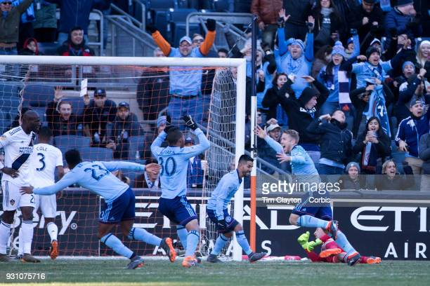 Anton Tinnerholm #3 of New York City celebrates with team mates after scoring his sides first goal during the New York City FC Vs LA Galaxy regular...