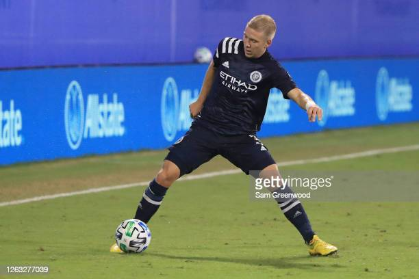 Anton Tinnerholm of New York City controls the ball during a quarter final match of MLS Is Back Tournament between New York City and Portland Timbers...