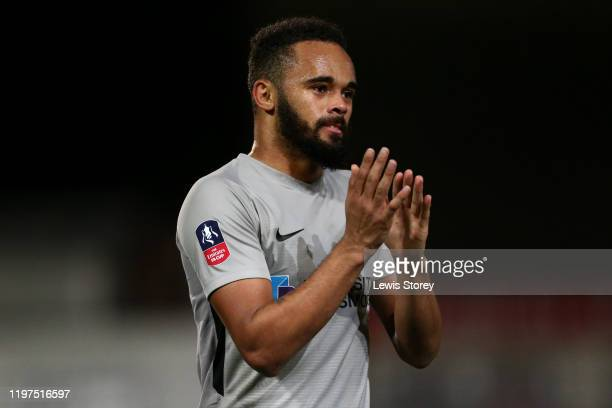 Anton Walkes of Portsmouth FC reacts to the fans following the FA Cup Third Round match between Fleetwood Town and Portsmouth FC at Highbury Stadium...