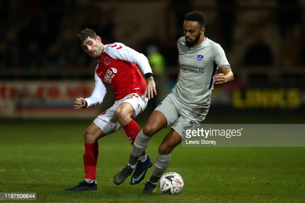 Anton Walkes of Portsmouth FC turns away from Ched Evans of Fleetwood Town during the FA Cup Third Round match between Fleetwood Town and Portsmouth...