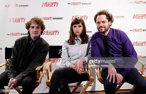 Anton Yelchin Felicity Jones and Drake Doremus attend the Variety Studio at Sundance on January 23 2011 in Park City Utah