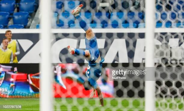 Anton Zabolotny of FC Zenit Saint Petersburg celebrates his goal during the UEFA Europa League playoffs first leg match between FC Zenit Saint...