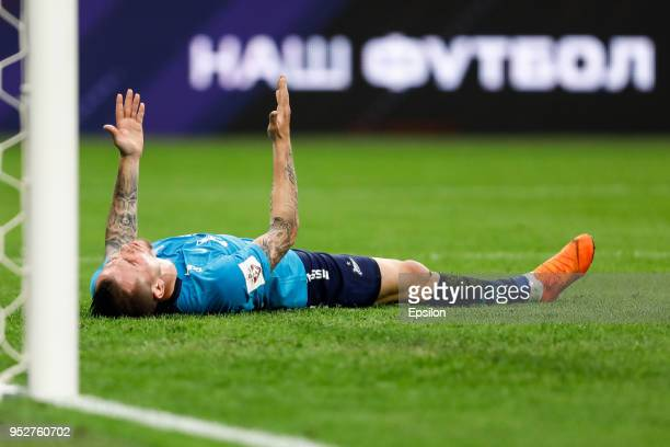 Anton Zabolotny of FC Zenit Saint Petersburg reacts after missing his chance during the Russian Football League match between FC Zenit Saint...