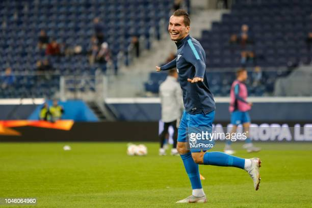 Anton Zabolotny of FC Zenit Saint Petersburg reacts during warmup ahead of the Group C match of the UEFA Europa League between FC Zenit Saint...