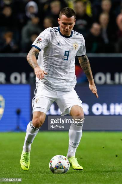 Anton Zabolotny of Russia in action during the UEFA Nations League B Group 2 match between Sweden and Russia on November 20 2018 at Friends Arena in...