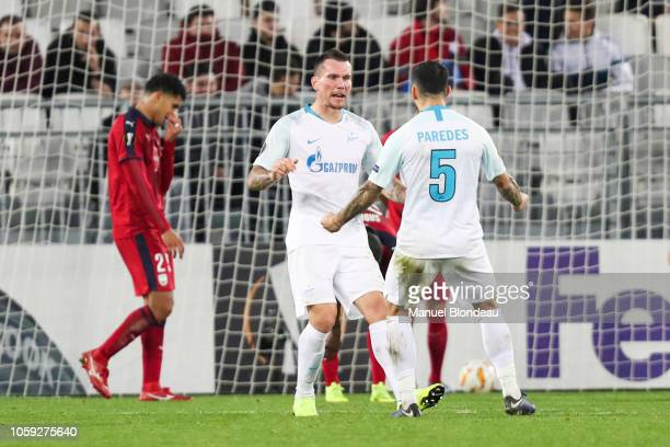 Anton Zabolotny of Zenit celebrates after scoring a goal during the UEFA Europa League match between Bordeaux and Zenith St Petersburg at Stade...