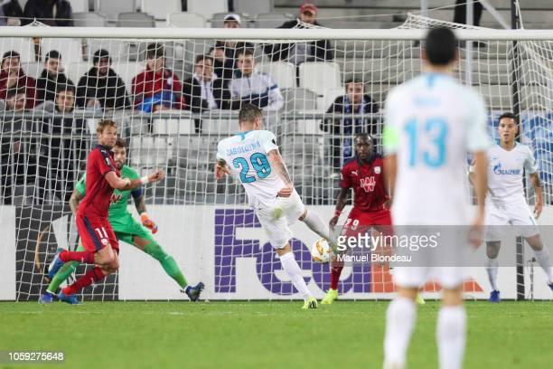 Anton Zabolotny of Zenit kicks the ball to score a goal during the UEFA Europa League match between Bordeaux and Zenith St Petersburg at Stade Matmut...