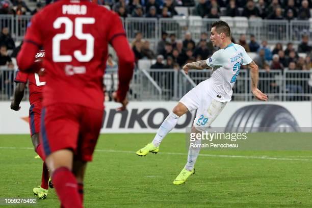 Anton Zabolotny of Zenit Saint Petersburg scores a goal during the UEFA Europa League Group C match between Girondins de Bordeaux and Zenit Saint...