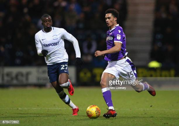 Antonee Robinson of Bolton Wanderers beats Stephy Mavididi of Preston North End during the Sky Bet Championship match between Preston North End and...