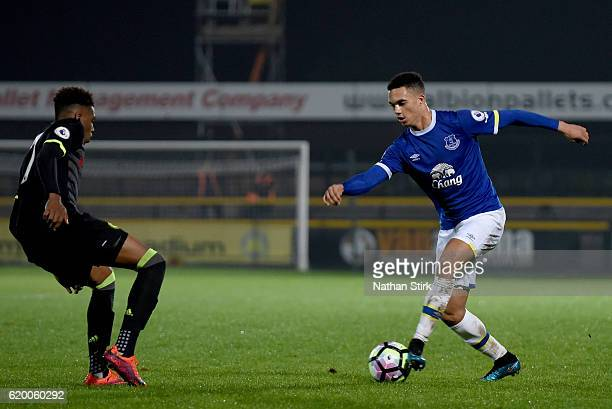 Antonee Robinson of Everton and Fankaty Dabo of Chelsea in action during the Premier League 2 match between Everton U21s and Chelsea U21s at Haig...