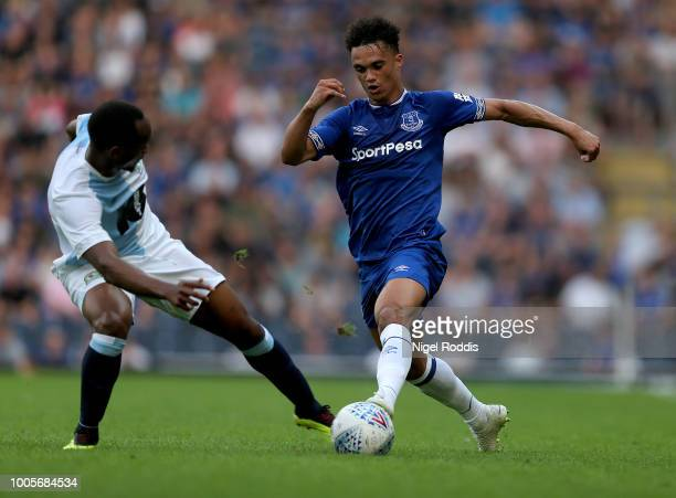 Antonee Robinson of Everton challenged by Ryan Nyambe of Blackburn Rovers during the PreSeason Friendly match between Blackburn Rovers and Everton at...