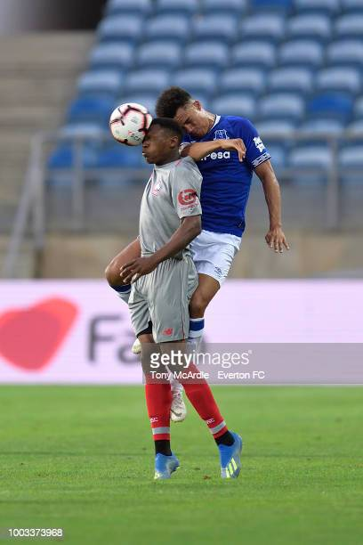 Antonee Robinson of Everton heads the ball during the Algarve Cup match between Everton and Lille on July 21 2018 in Faro Portugal