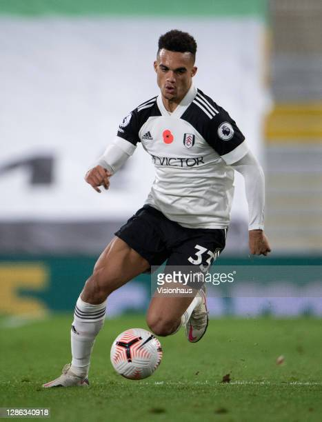 Antonee Robinson of Fulham during the Premier League match between Fulham and West Bromwich Albion at Craven Cottage on November 02 2020 in London...