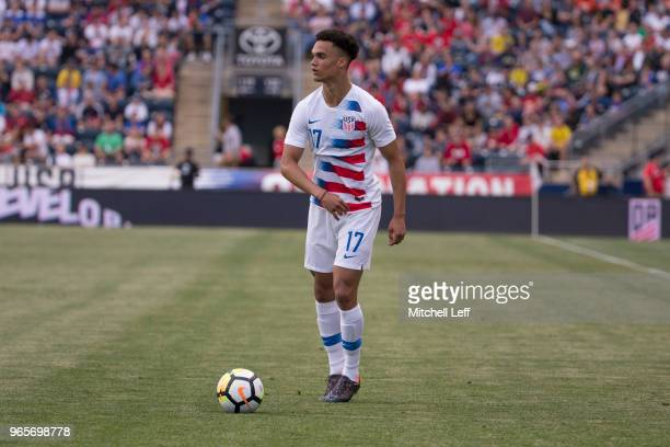 Antonee Robinson of the United States controls the ball during the friendly soccer match against Bolivia at Talen Energy Stadium on May 28 2018 in...