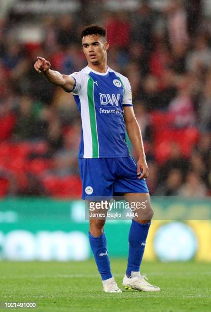 Antonee Robinson of Wigan Athletic during the Sky Bet Championship match between Stoke City and Wigan Athletic at Bet365 Stadium on August 22 2018 in...