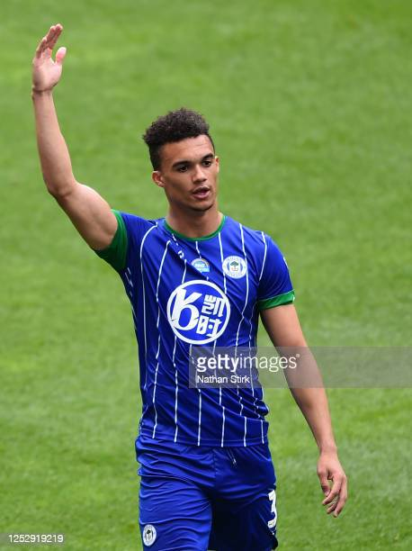 Antonee Robinson of Wigan Athletic gestures during the Sky Bet Championship match between Wigan Athletic and Blackburn Rovers at DW Stadium on June...
