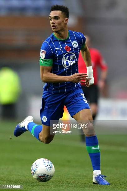 Antonee Robinson of Wigan Athletic in possession during the Sky Bet Championship match between Wigan Athletic and Brentford at DW Stadium on November...