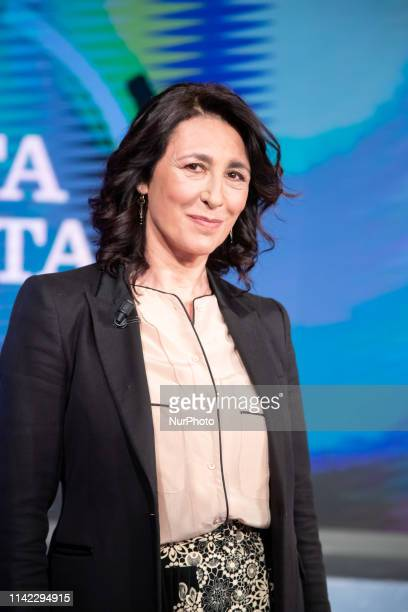 Antonella Attili attends the TV show 'Porta a Porta' by Bruno Vespa, in Rome, Italy, on May 7, 2019.