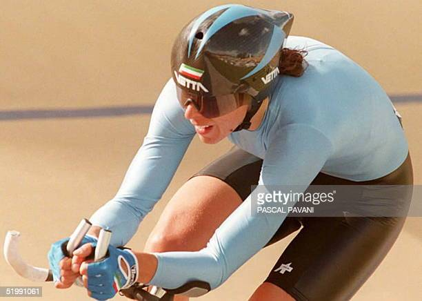 Antonella Bellutti of Italy rides during the semifinals of the three kilometer of the individual pursuit race 30 September in Bogota Bellutti...
