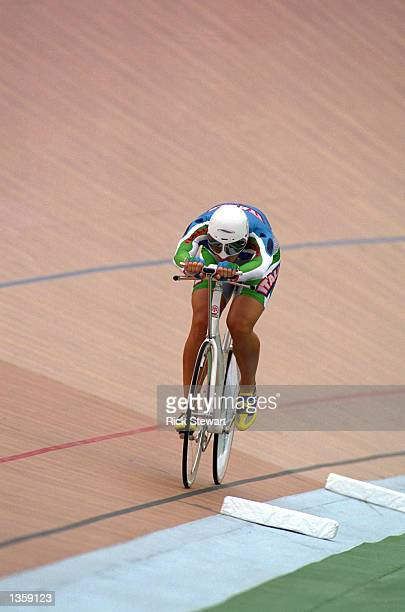 Antonella Bellutti of Italy wins the gold medal in the Women's Individual Pursuit with a time of 333595 at the Stone Mountain Velodrome during the...