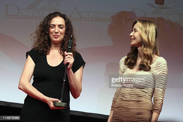 """Antonella Cannarozzi and Eliana Miglio attend the """"Premio Afrodite"""" at Studios on May 31, 2011 in Rome, Italy."""