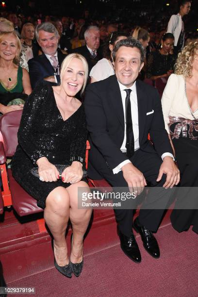 Antonella Clerici and Flavio Insinna attend Celebrity Fight Night at Arena di Verona on September 8 2018 in Verona Italy