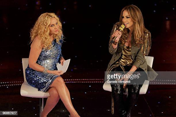 Antonella Clerici and Jennifer Lopez attend the 60th Sanremo Song Festival at the Ariston Theatre On February 19 2010 in San Remo Italy