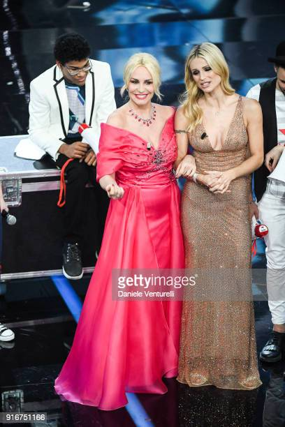 Antonella Clerici and Michelle Hunziker attend the closing night of the 68 Sanremo Music Festival on February 10 2018 in Sanremo Italy