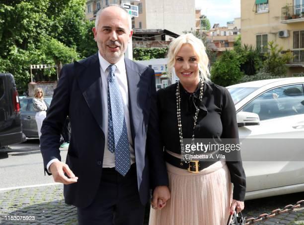 Antonella Clerici and Vittorio Garrone attend the wedding of Lorella Boccia and Niccolò Presta at Chiesa della Gran Madre di Dio on June 01 2019 in...
