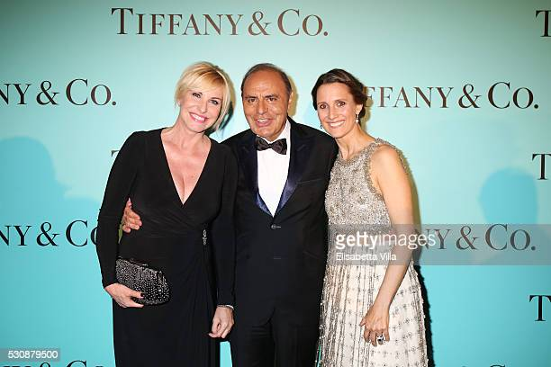 Antonella Clerici Bruno Vespa and Diamara Leone attend Tiffany Co celebration of the opening of its new store in Rome at at Villa Aurelia on May 11...
