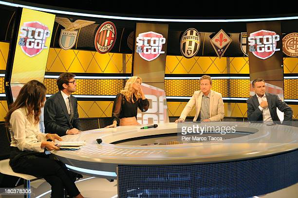 Antonella D'Errico Ciro Ferrara Federica Fontana Sandro Sabatini and Alessandro Bonan attend a Stop Gol show photocall at Cielo TV on September 12...