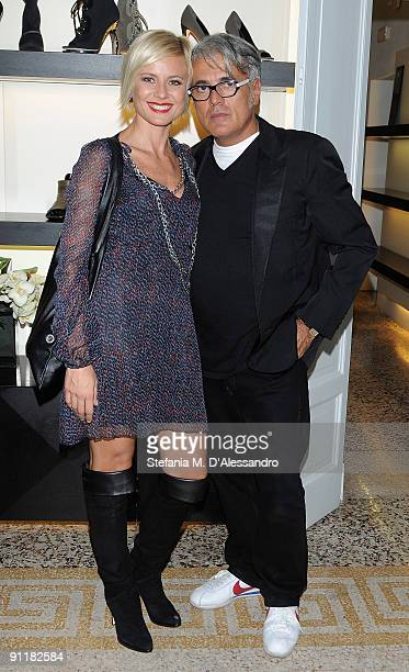Antonella Elia and Designer Giuseppe Zanotti attend the presentation of Vicini Spring/Summer Collection as part of Milan Fashion Week on September 26...
