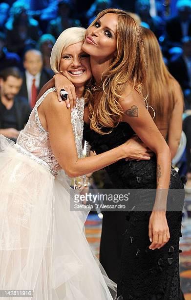 Antonella Elia and Nina Moric attend 'L'Isola Dei Famosi' on April 12 2012 in Milan Italy