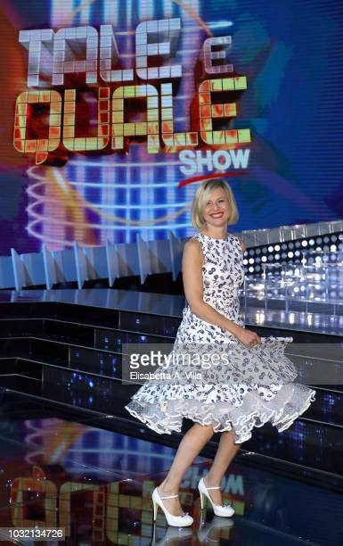 Antonella Elia attends 'Tale e Quale Show' photocall at Rai Dear Studios on September 12 2018 in Rome Italy
