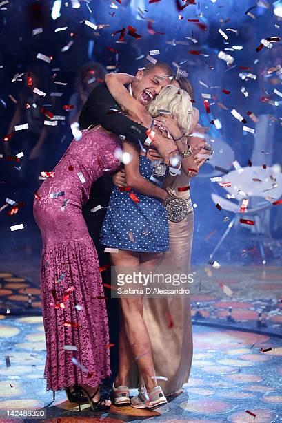 Antonella Elia celebrates after winning L'Isola dei Famosi 2012 on April 5 2012 in Milan Italy
