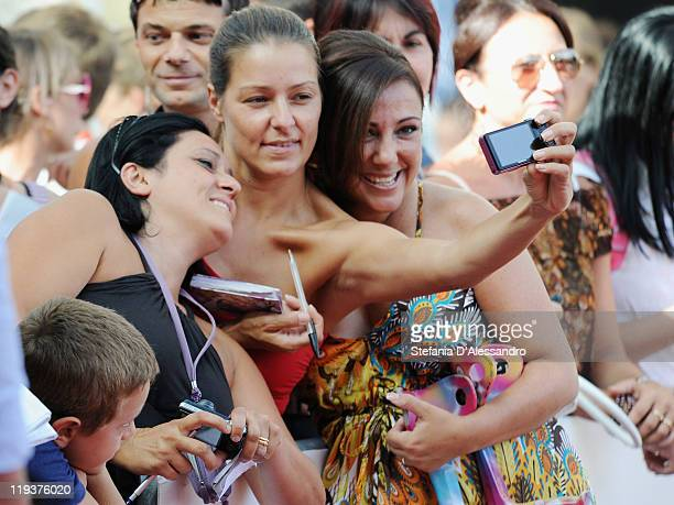 Antonella Ferrari signs autographs during the Giffoni Award during the 2011 Giffoni Experience on July 19 2011 in Giffoni Valle Piana Italy