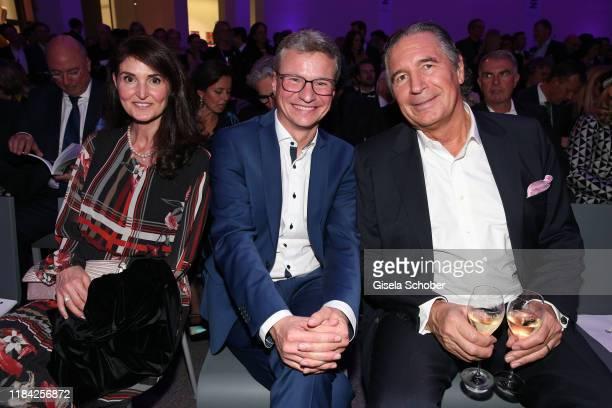 Antonella ForteWolfAllianz Bavarian Minister for art Bernd Sibler and Urs Brunner during the PIN Party at Pinakothek der Moderne on November 23 2019...