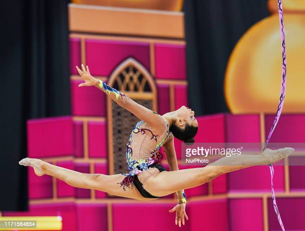 Antonella Genuzio of Bolivia during the 37th Rhythmic Gymnastics World Championships at the National Gymnastics Arena in Baku, Azerbaijan on...