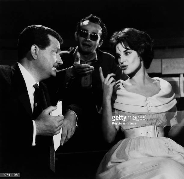 Antonella Lualdi And Pierre Bellemare At The Filming Studio In Paris In The Fifties