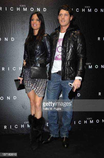 Antonella Mosetti and Aldo Montano arrive at John Richmond fashion show as part of Milan Fashion Week Menswear Autumn/Winter 2012 on January 16 2012...