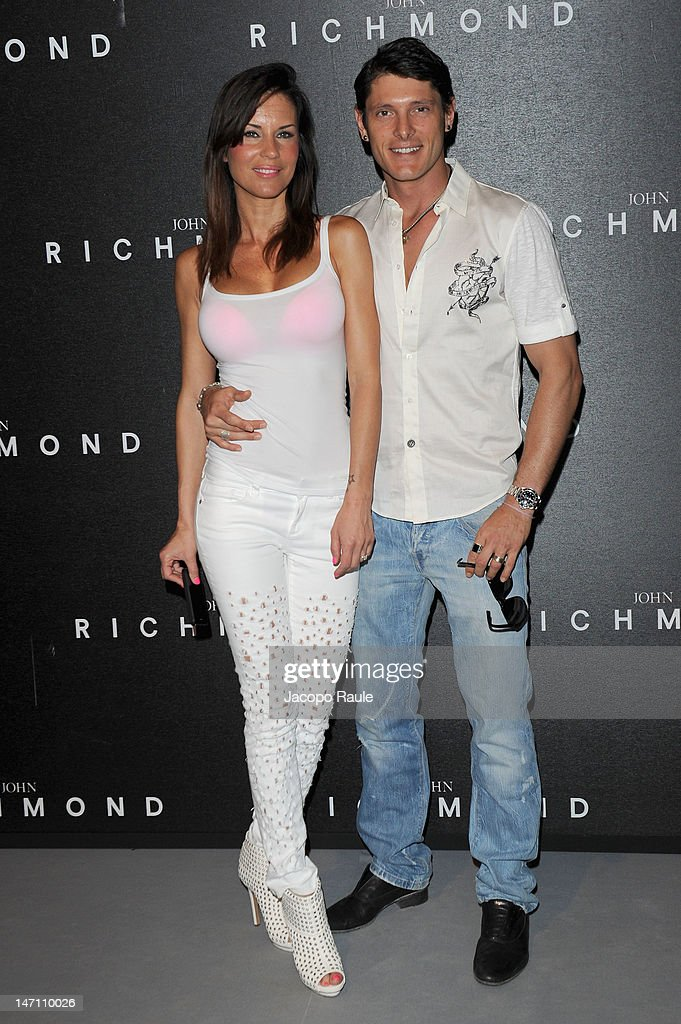 Antonella Mosetti and Aldo Montano arrive at the John Richmond show as part of Milan Fashion Week Menswear Spring/Summer 2013 on June 25, 2012 in Milan, Italy.