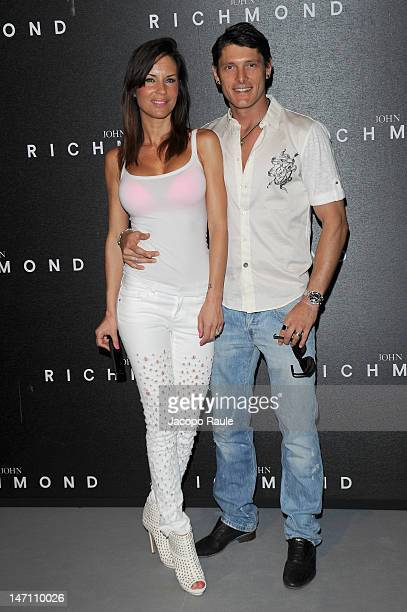 Antonella Mosetti and Aldo Montano arrive at the John Richmond show as part of Milan Fashion Week Menswear Spring/Summer 2013 on June 25 2012 in...