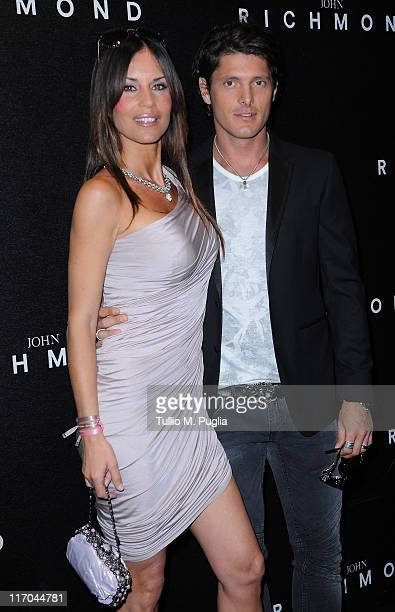 Antonella Mosetti and Aldo Montano attend the John Richmond fashion show as part of Milan Fashion Week Menswear Spring/Summer 2012 on June 19 2011 in...