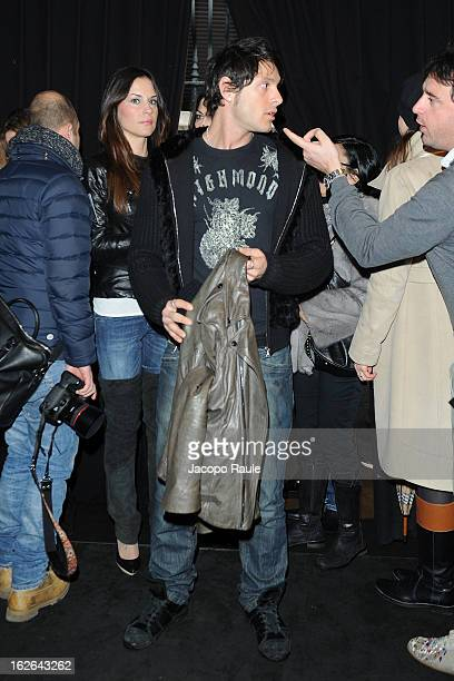 Antonella Mosetti and Aldo Montano attend the John Richmond fashion show as part of Milan Fashion Week Womenswear Fall/Winter 2013/14 on February 25...