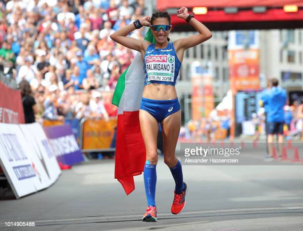 Antonella Palmisano of Italy celebrates winning the Silver Medal in the Women's 20km Race Walk during day five of the 24th European Athletics...