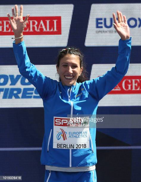 Antonella Palmosano of Italy bronze poses during the medal ceremony for the Women's 20km Race Walk during day five of the 24th European Athletics...