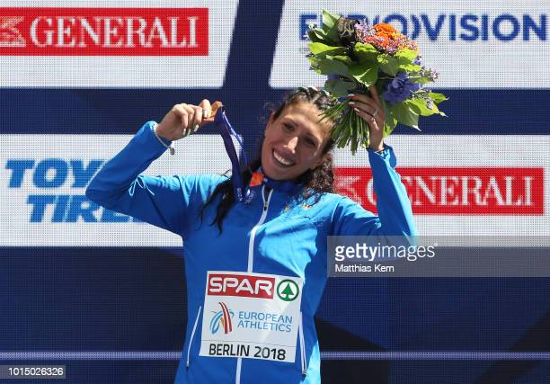 Antonella Palmosano of Italy bronze poses with her medal for the Women's 20km Race Walk during day five of the 24th European Athletics Championships...